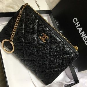 Chanel Caviar coin pouch key chain